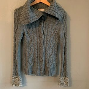 Anthropologie Sleeping on Snow thyme Aran cardigan